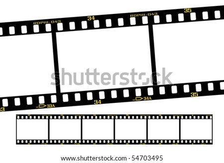 slide film or transparency strips, accurate dimension and details. - stock vector