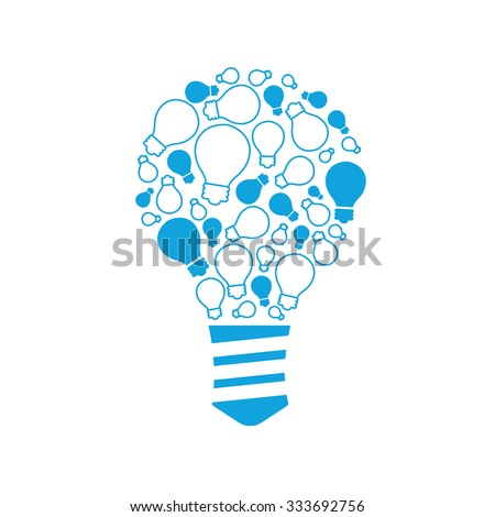Slide presentation of ideas brain in form light bulb. Creator and generator comprehension tip in brainstorm. Vector illustration concept of breakthrough thought, network and enlightenment. Flat style - stock vector