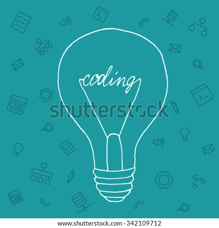 Slide presentation of ideas brain in form light bulb. Creator and generator comprehension tip in brainstorm. Vector illustration concept of breakthrough thought, network and enlightenment. Draw style - stock vector