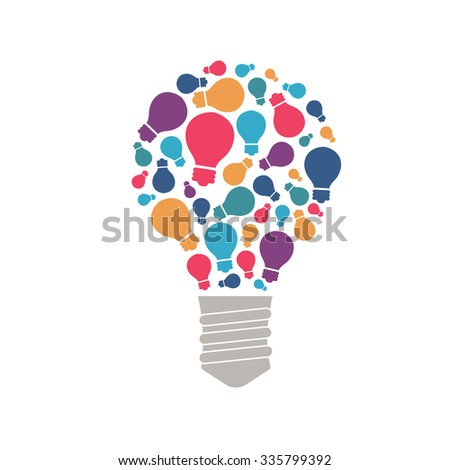 Slide presentation of ideas brain in light bulb. Brain tip and hints in brainstorm. Vector illustration of breakthrough thought, network, brain and enlightenment. Flat style tip, hint for brain ideas  - stock vector