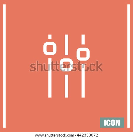 Sliders sign line vector icon. Settings vector icon. UI control media sound symbol. - stock vector