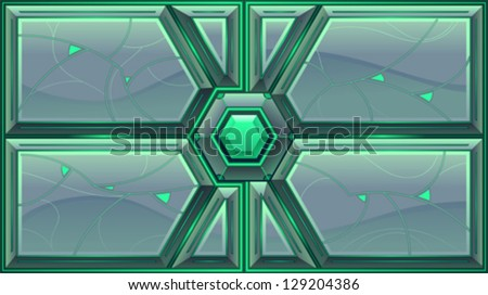 Sliding Doors. Vector illustration, separated element: left and right door can be animated because they are independent objects in the vector file, in 2 different layers. - stock vector