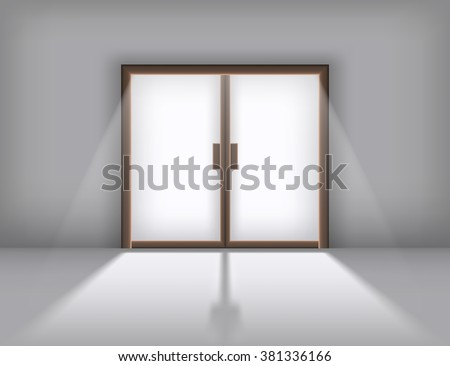 sliding doors with the outgoing light realistic vector eps 10 interior sliding