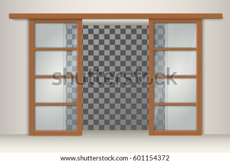 Sliding Glass Doors Wooden Frame Empty Stock Vector 601154372