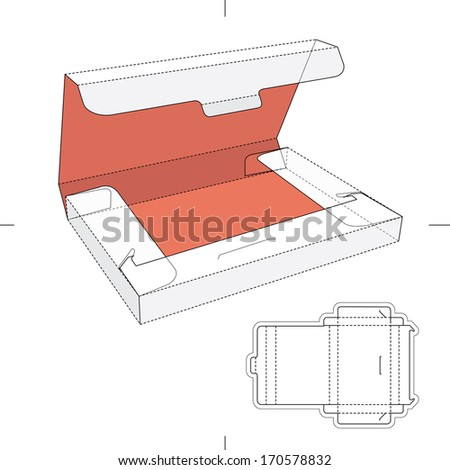 Slim Box with Lid and Blueprint Layout - stock vector