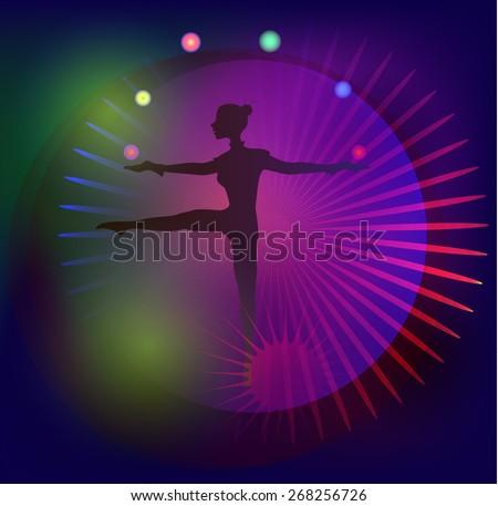 Slim girl on the ball in light show. - stock vector
