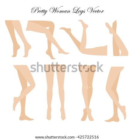 Slim, long, and elegant woman legs in different poses.. Lying, standing, and sitting legs positions. Straight and crossed legs. Legs design elements. Woman legs silhouettes. - stock vector