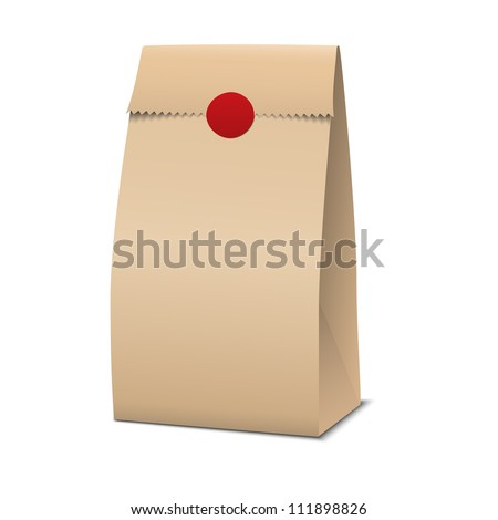 Slim Paper Bag Package Of Coffee, Salt, Sugar, Pepper, Spices Or Flour, Filled, Folded, Close, Brown. Ready For Your Design. Snack Product Packing Vector - stock vector