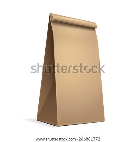 Slim Paper Bag Package Of Coffee, Salt, Sugar, Pepper, Spices Or Flour, Filled, Folded, Close, Brown. Ready For Your Design. Snack Product Packing Vector EPS10 - stock vector