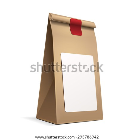 Slim Paper Bag Package With White Label Sticker Of Coffee, Salt, Sugar, Pepper, Spices Or Flour, Filled, Folded, Close, Brown. Ready For Your Design. Snack Product Packing Vector EPS10 - stock vector