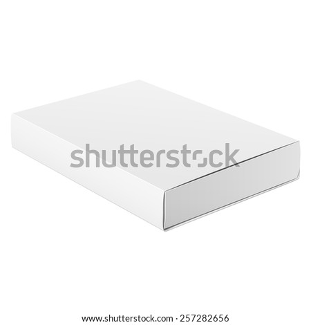 Slim Realistic White Package Cardboard Box Opened. Square shape. For Software, electronic device and other products. Vector illustration - stock vector