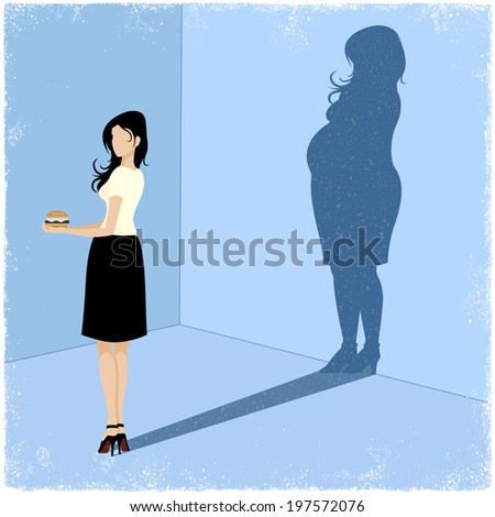 Slim woman casting fat woman shadow in vector - stock vector