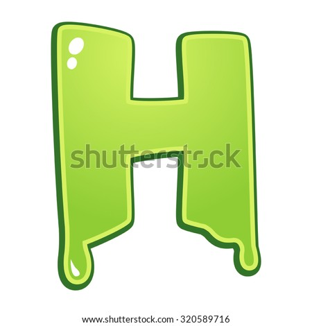 Slimy font type letter H - stock vector