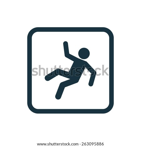 slippery floor icon Rounded squares button, on white background  - stock vector