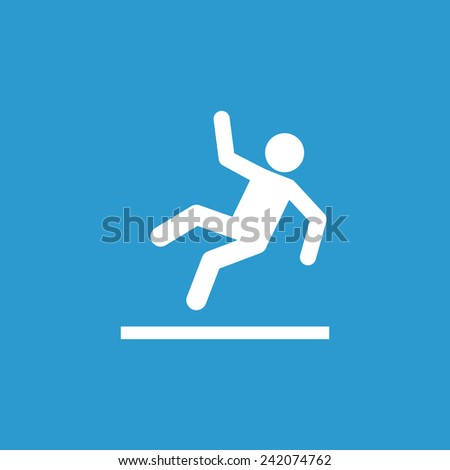 slippery floor outline icon, isolated, white on the blue background. Exclusive Symbols  - stock vector