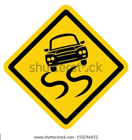 slippery road sign - stock vector