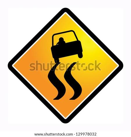 Slippery road sign, vector illustration - stock vector