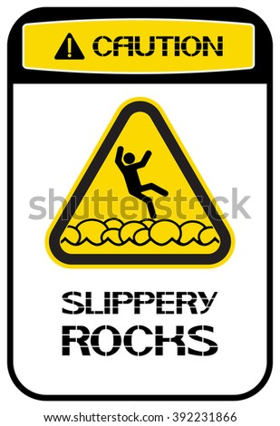 Slippery rocks.  Prohibiting sign, perform certain actions on the territory, in this place.
