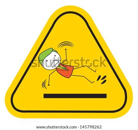 slippery slipping - stock vector