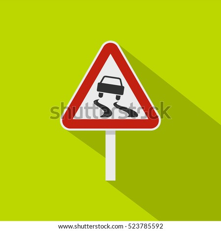 Slippery when wet road sign icon. Flat illustration of slippery when wet road sign vector icon for web isolated on lime background