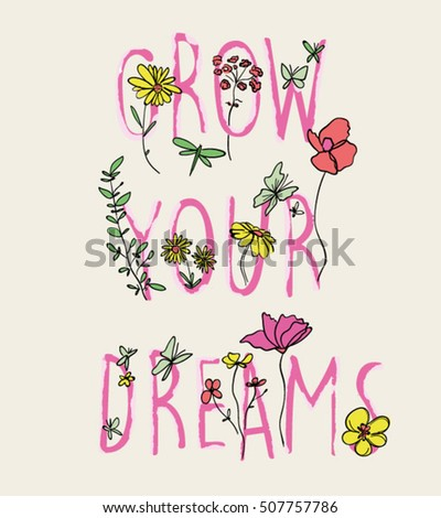 slogan flowers watercolor