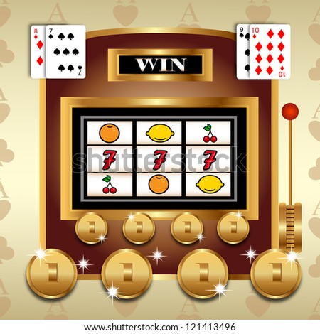 Slot fruit machine with 777 winning and  Gold coins - Vector illustration on retro background - stock vector