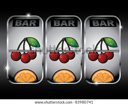 Slot machine Close up of a winning spin on the slot machine. - stock vector