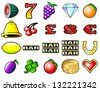 Slot machine fruits and other icon vector illustrations - stock vector