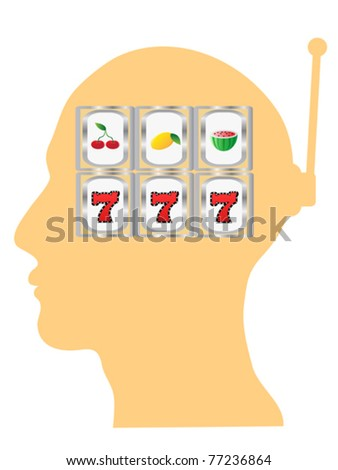 slot machine in the head - stock vector