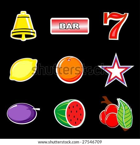Slot machine retro icons vector - stock vector