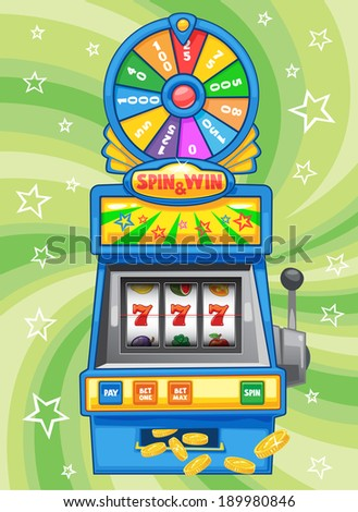 Slot Machine Spin & Win - Soft Collection - stock vector