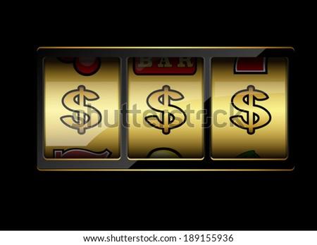 Slot machine symbols on black background. Three dollar signs. Vector illustration - stock vector