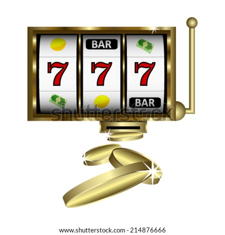 Slot machine with gold shine. Vector Illustration. - stock vector