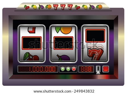 Slot machine with three blank reels to insert your text, company logo or picture in. Isolated vector illustration on white background. - stock vector