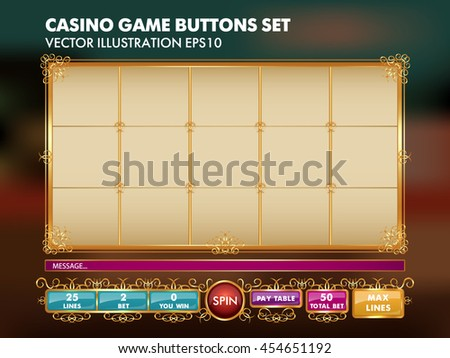 Slots game template. Casino game buttons set. Vector Illustration EPS10. - stock vector