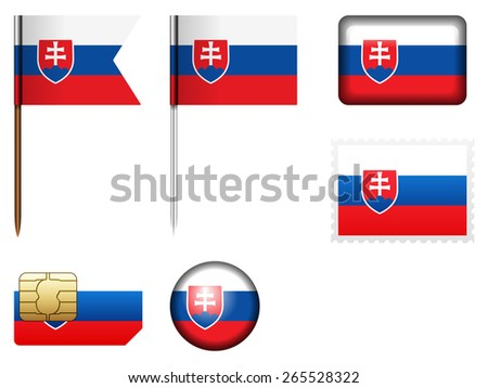 Slovakia flag set on a white background.
