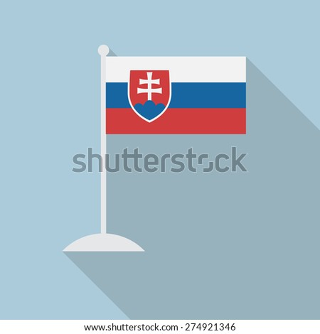 Slovakia flag with flagpole flat icon with long shadow. Vector illustration EPS10 - stock vector