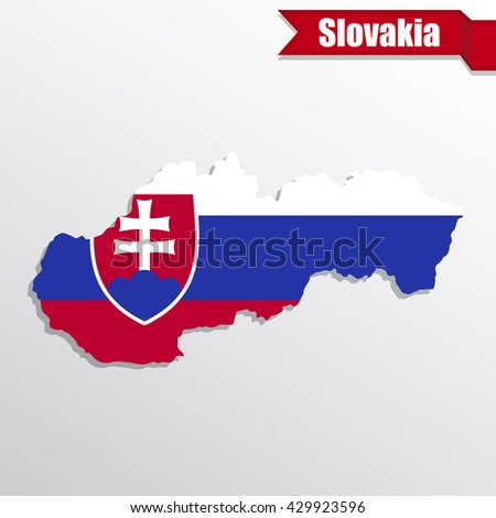 Slovakia map with flag inside and ribbon