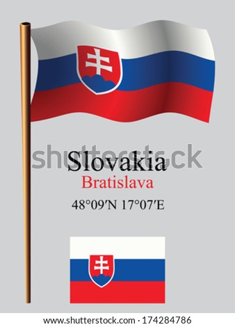 slovakia wavy flag and coordinates against gray background, vector art illustration, image contains transparency