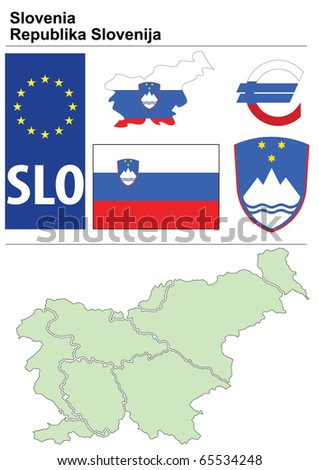 Slovenia collection including flag, plate, map (administrative division), symbol, currency unit & coat of arms - stock vector
