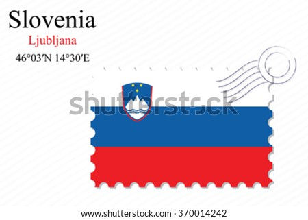 slovenia stamp design over stripy background, abstract vector art illustration, image contains transparency