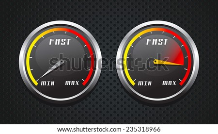Slow and fast download speed icons  - stock vector