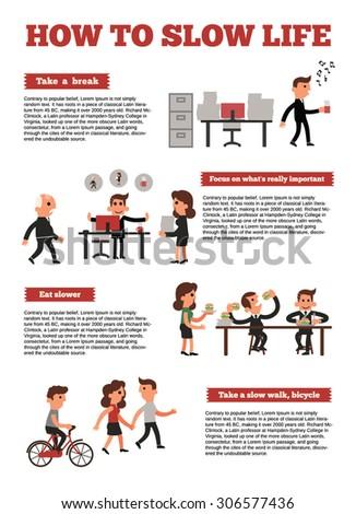Slow Life,Activities,office. - stock vector