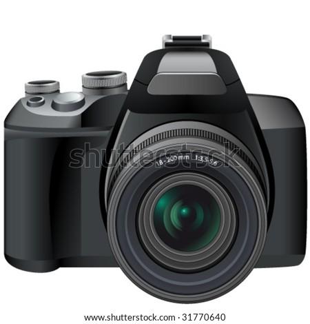 SLR camera - vector - stock vector