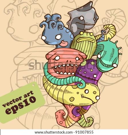 slug monsters - stock vector