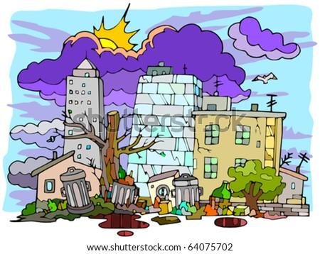 Slum - stock vector