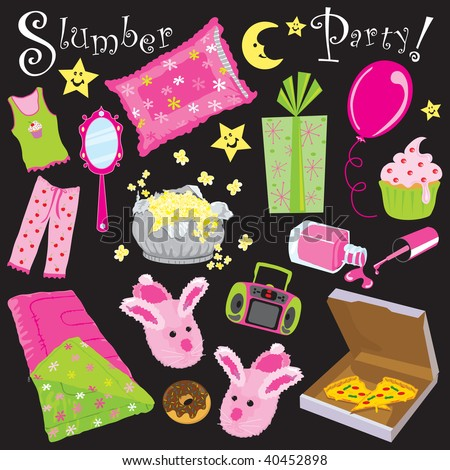 Slumber birthday Party Invitation Clipart - stock vector