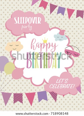 Slumber party invitation card birthday invitation stock vector slumber party invitation card birthday invitation card vector illustration stopboris Gallery