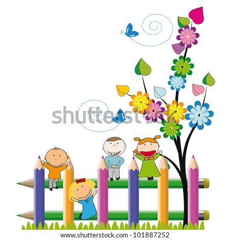 Small and happy kids on colorful fence - stock vector