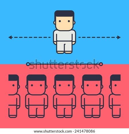 small and large population density. abstract conceptual illustration. - stock vector